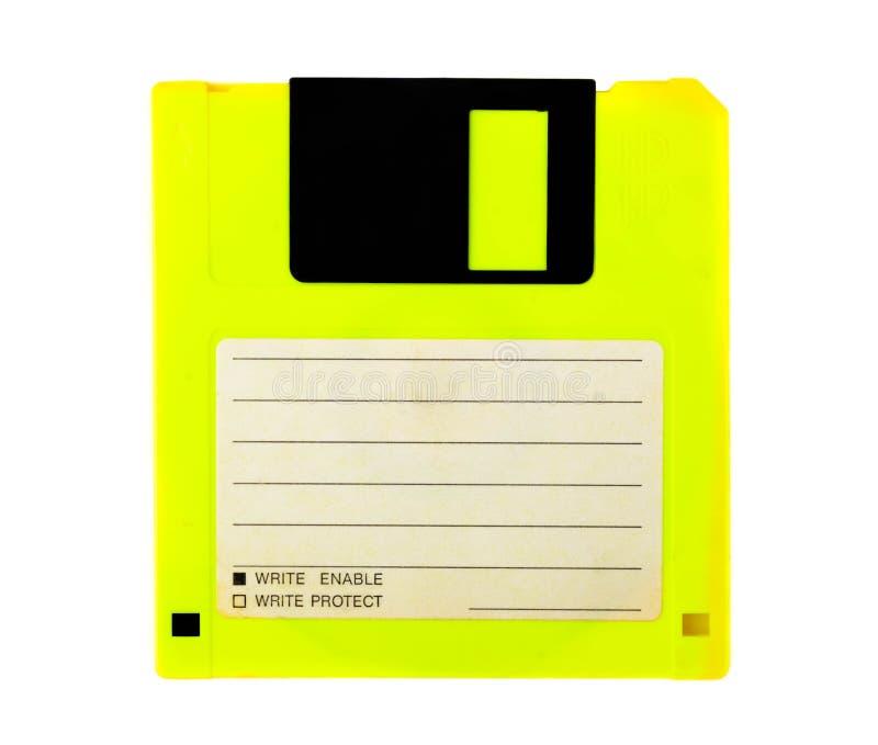 Желтый гибкий магнитный диск с пустым ярлыком на белой предпосылке Магнитные середины хранить информация стоковые фото