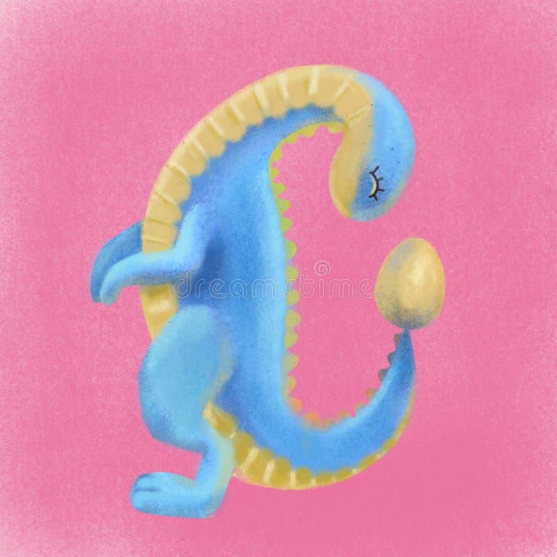 Желтый голубой милый динозавр смотря на яйце Иллюстрация dino вычерченного мультфильма руки тома 3d пастельная текстурированная Т иллюстрация штока