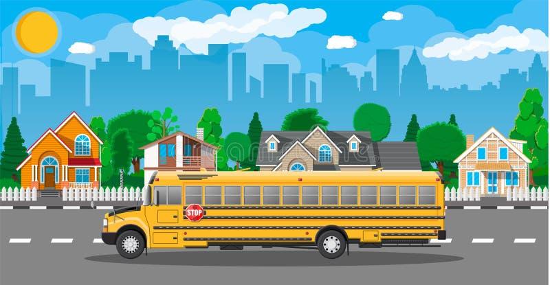 Желтый длинный классический школьный автобус в городе иллюстрация вектора
