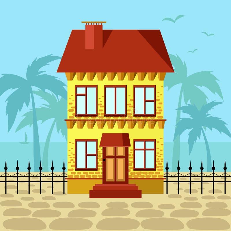 Желтый дом с красной крышей около океана иллюстрация штока