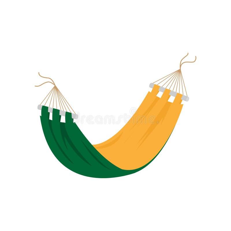 Желтый зеленый гамак лета на острове Palm Beach иллюстрация штока