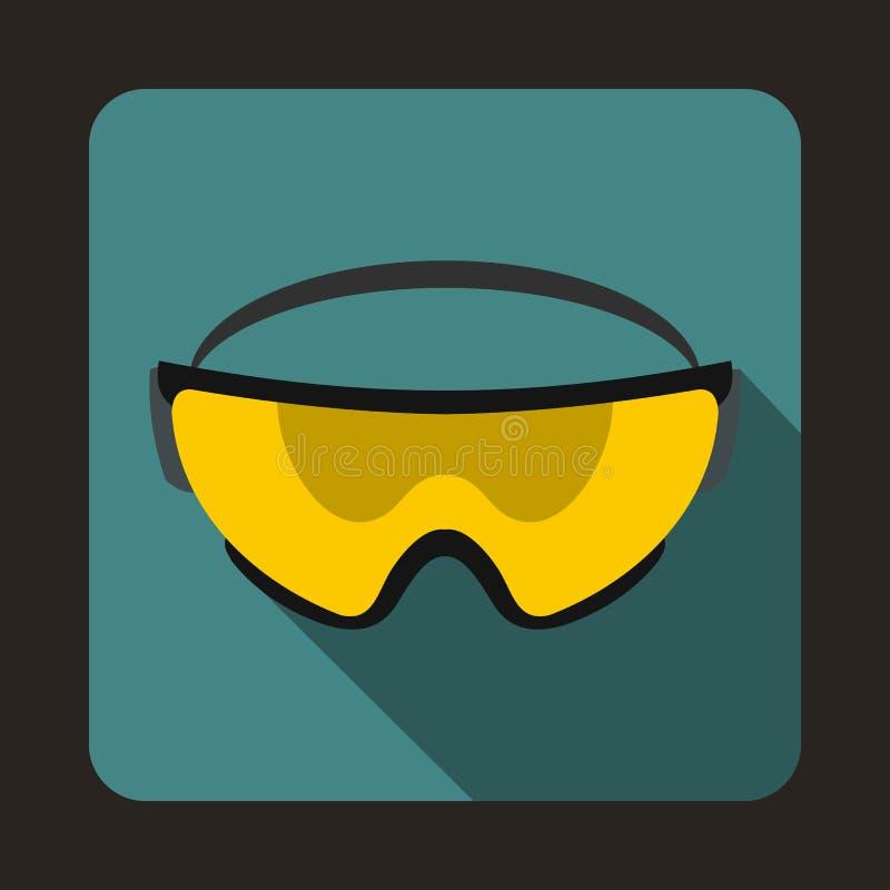 Желтый значок защитных стекол, плоский стиль иллюстрация штока
