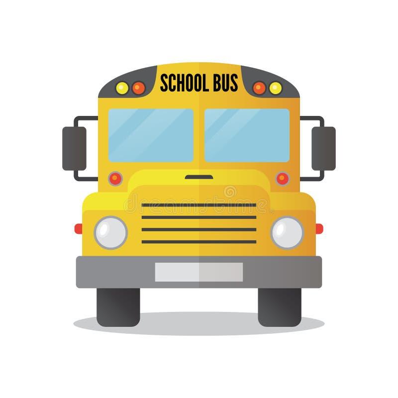 Желтый значок школьного автобуса изолированный на белой предпосылке иллюстрация вектора