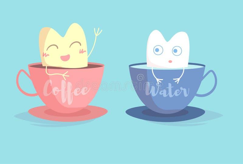 Желтый зуб в чашке кофе, белый зуб в чашке вектора воды шарж иллюстрация штока