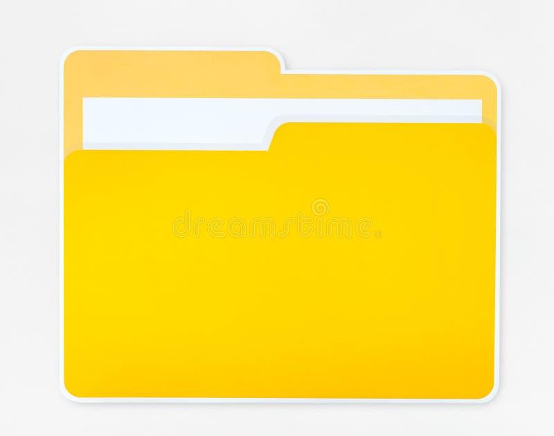 Желтый изолированный значок папки документа стоковое фото