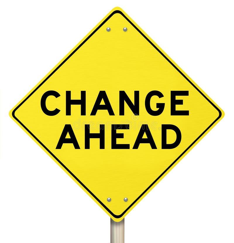 Желтый изолированный предупредительный знак - изменение вперед - иллюстрация штока