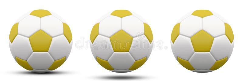 Желтый и белый футбольный мяч в 3 версиях, с и без тени Изолировано на белизне 3d представляют иллюстрация вектора