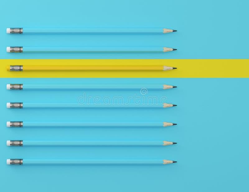 Желтый карандаш и голубой карандаш на голубой пастельной предпосылке r Идея о руководстве дела, думает d стоковые изображения