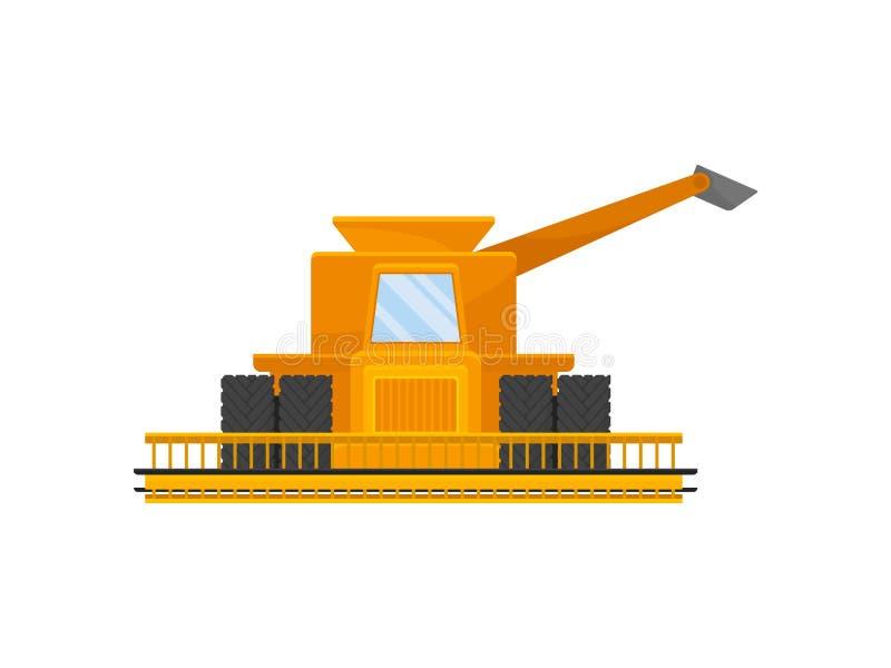 Желтый комбайн для сбора зерна r иллюстрация вектора