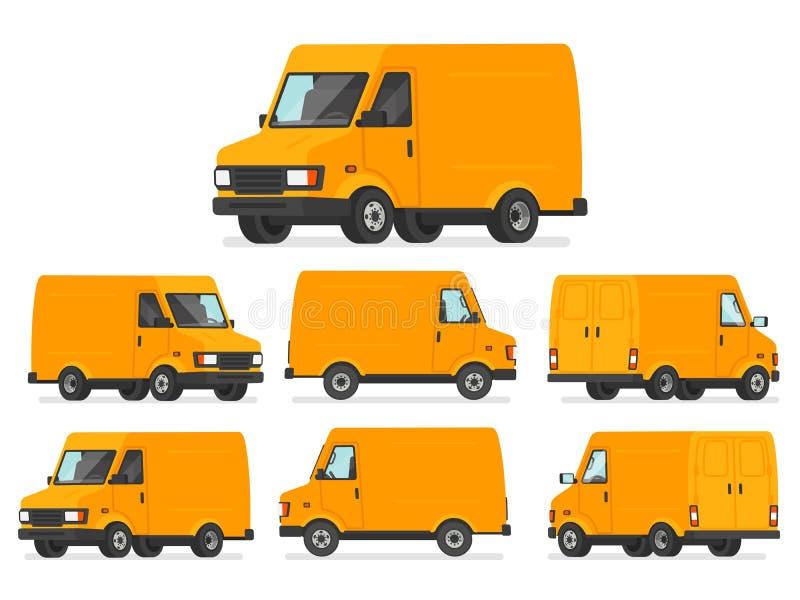 Желтый комплект фургона Тележка для транспорта товаров Корабль для d иллюстрация штока