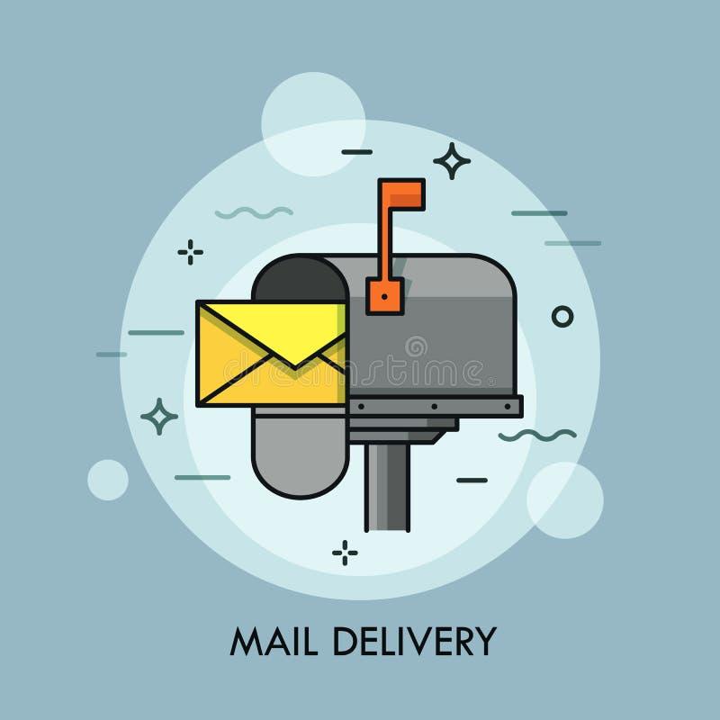 Желтый конверт в раскрытом почтовом ящике Срочная доставка почты, курьер и почтовая служба, почтовый сбор и концепция спама бесплатная иллюстрация
