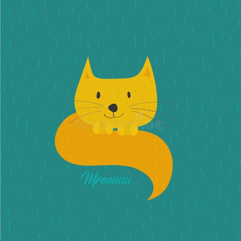 Желтый кот Смешной персонаж из мультфильма на голубой зеленой предпосылке бесплатная иллюстрация