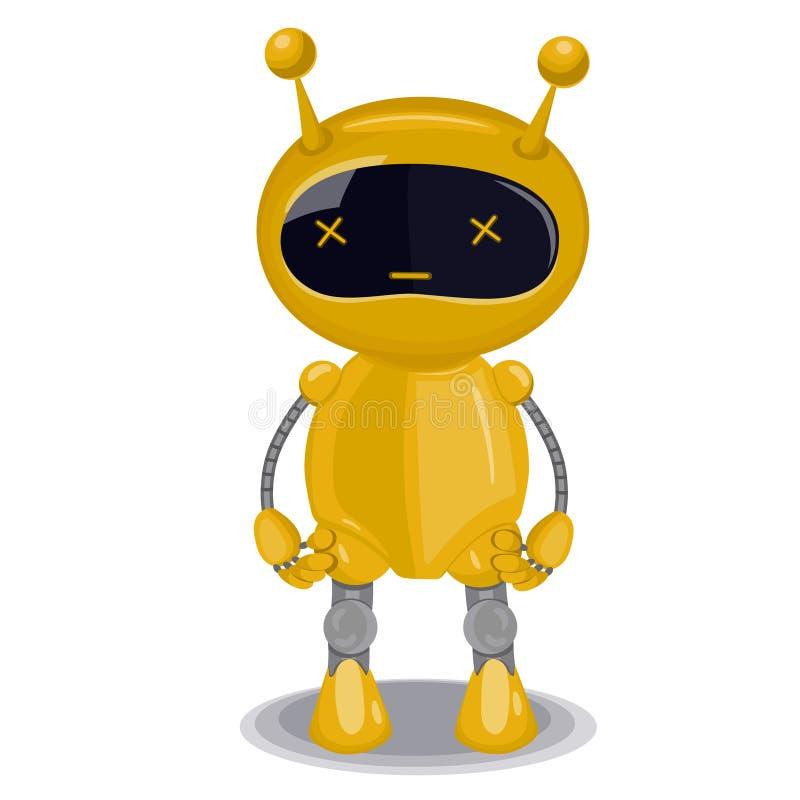 Желтый милый робот изолированный на белой предпосылке o бесплатная иллюстрация