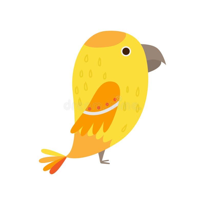 Желтый милый экзотический попугай с большой головой и небольшими крыльями иллюстрация штока