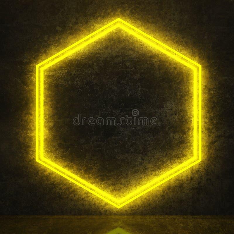 Желтый неоновый шестиугольник на черной бетонной стене иллюстрация штока
