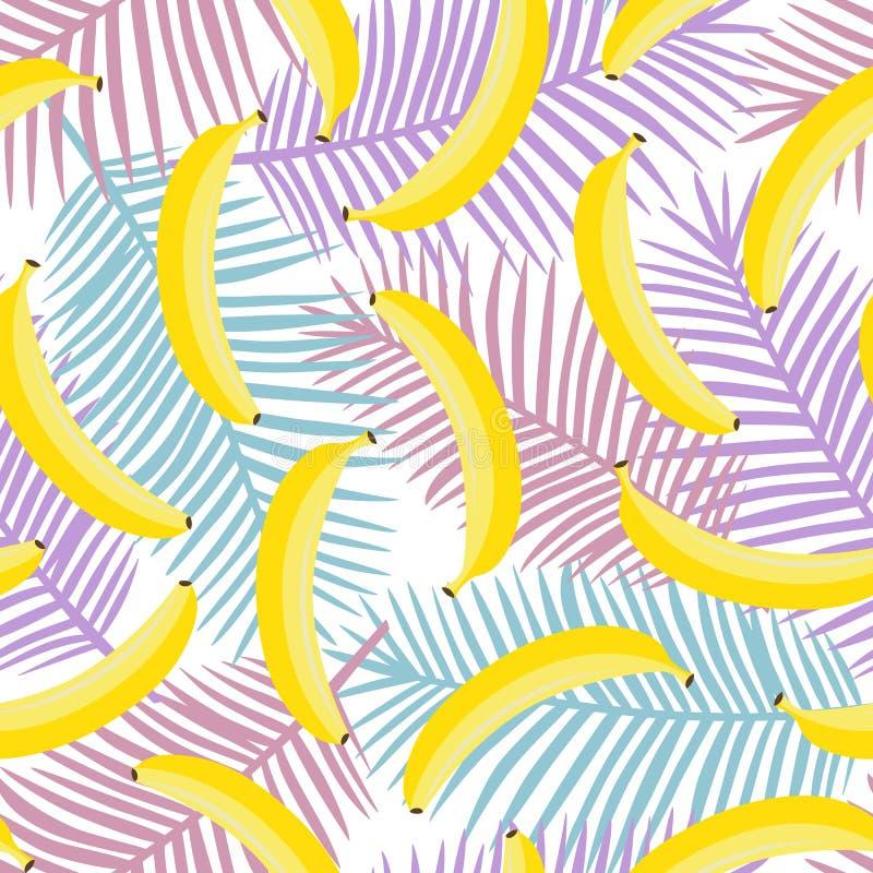 Желтый пастельный банан на фиолетовой розовой и голубой ладони покидает backgro иллюстрация штока