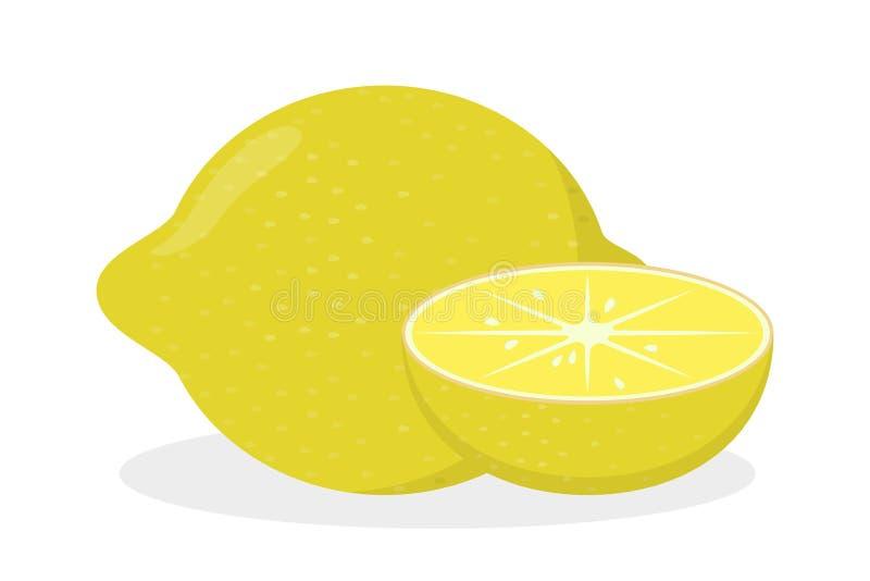 Желтый плод лимона Свежий цитрус, сочная зрелая еда бесплатная иллюстрация