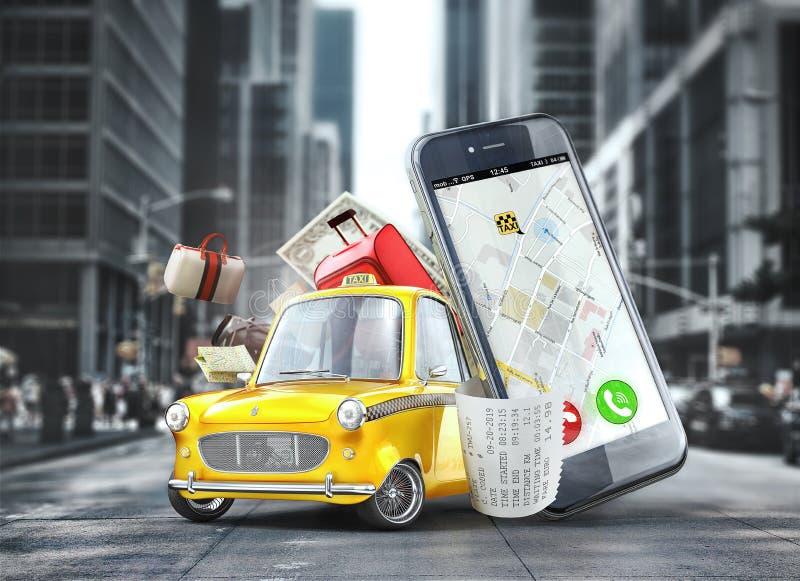 Желтый ретро автомобиль такси около телефона иллюстрация вектора