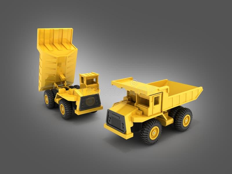 Желтый самосвал игрушки изолированный на серой предпосылке 3d градиента для того чтобы представить стоковые фото