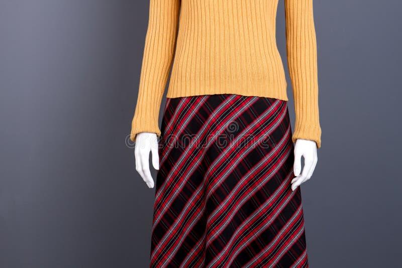 Желтый свитер и checkered юбка на манекене, вид спереди стоковые изображения