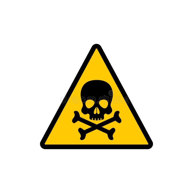 Желтый треугольник предупреждая токсический знак Токсический предупреждающий стикер символа вектора иллюстрация штока