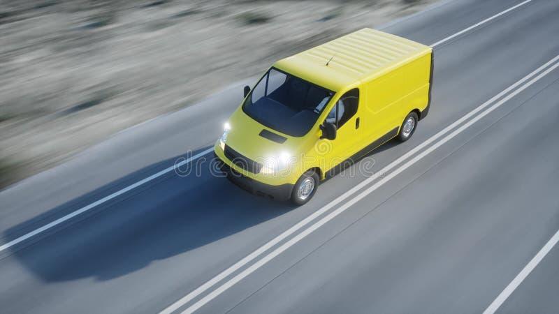 Желтый фургон поставки на шоссе Очень быстрый управлять Переход и логистическая концепция перевод 3d иллюстрация вектора