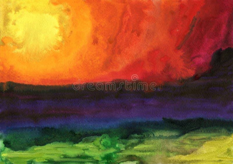желтый цвет акварели стародедовской предпосылки темный бумажный Заход солнца фантазии над морем иллюстрация вектора