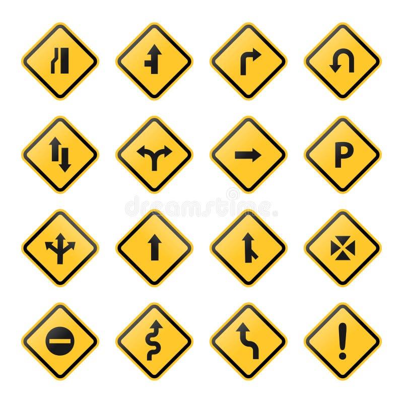 Желтый цвет вектора запаса дорожного знака и символов установленный на белой предпосылке иллюстрация вектора