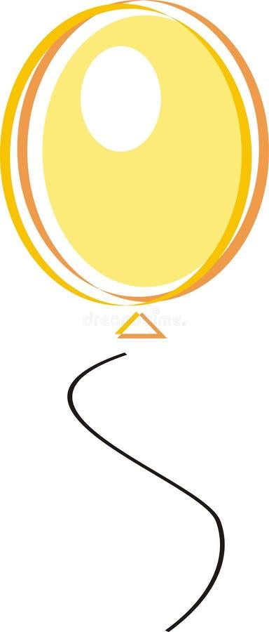 желтый цвет воздушного шара иллюстрация вектора