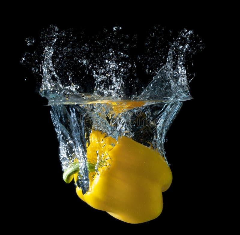 желтый цвет выплеска перца стоковое фото rf