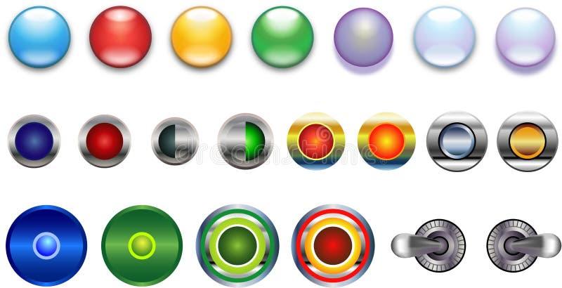 желтый цвет голубого металла кнопок стекловидного зеленого красный лиловый иллюстрация вектора