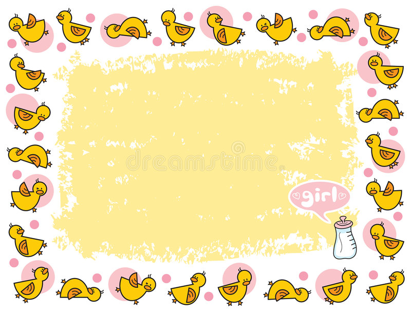 желтый цвет девушки рамки duckies иллюстрация штока