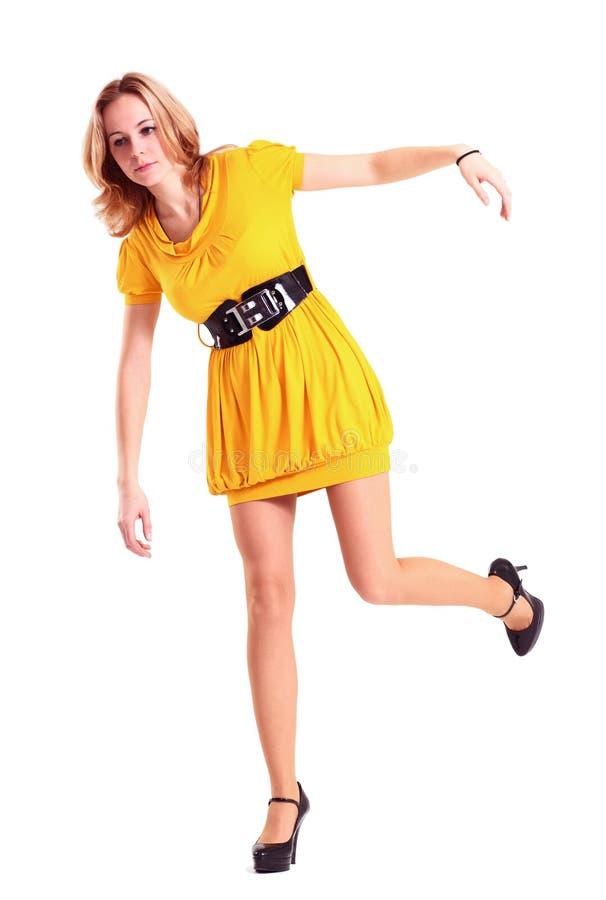 желтый цвет женщины стоковое фото rf