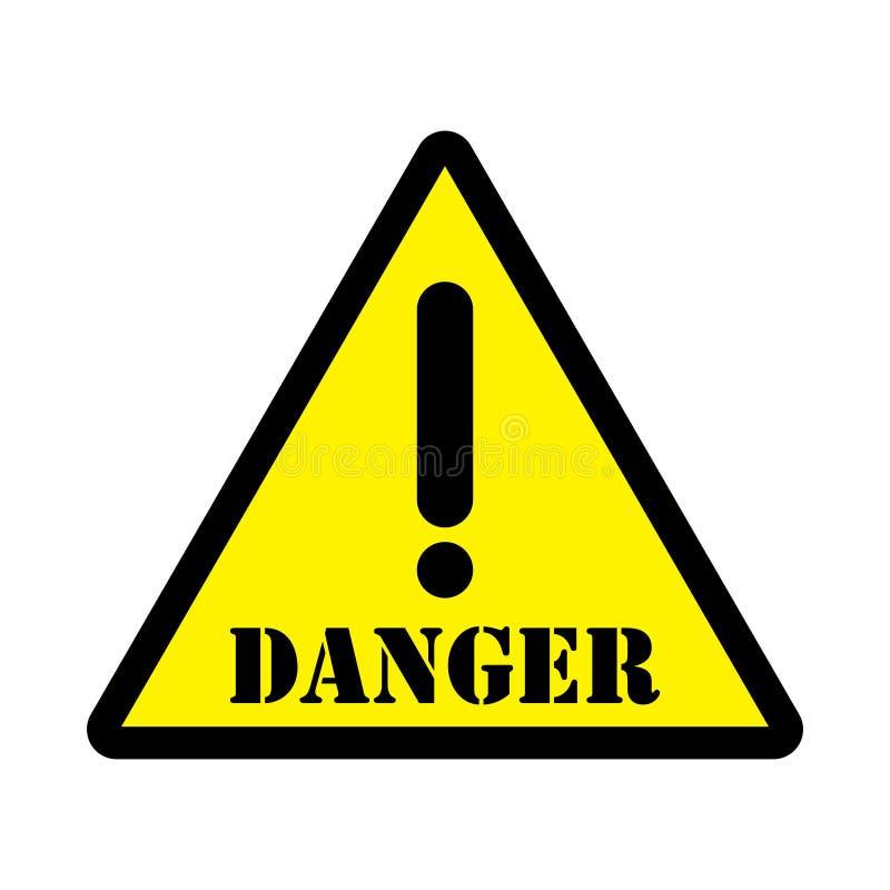 Желтый цвет знака треугольника опасности иллюстрация вектора