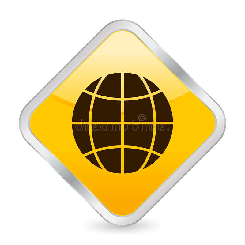 желтый цвет квадрата иконы глобуса иллюстрация вектора