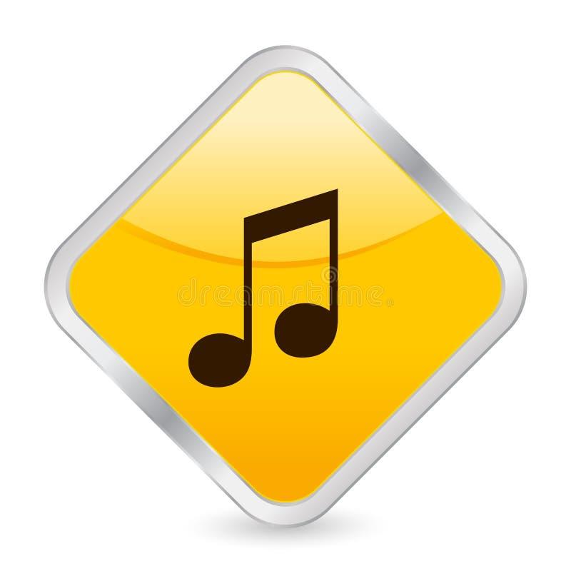 желтый цвет квадрата нот иконы иллюстрация штока