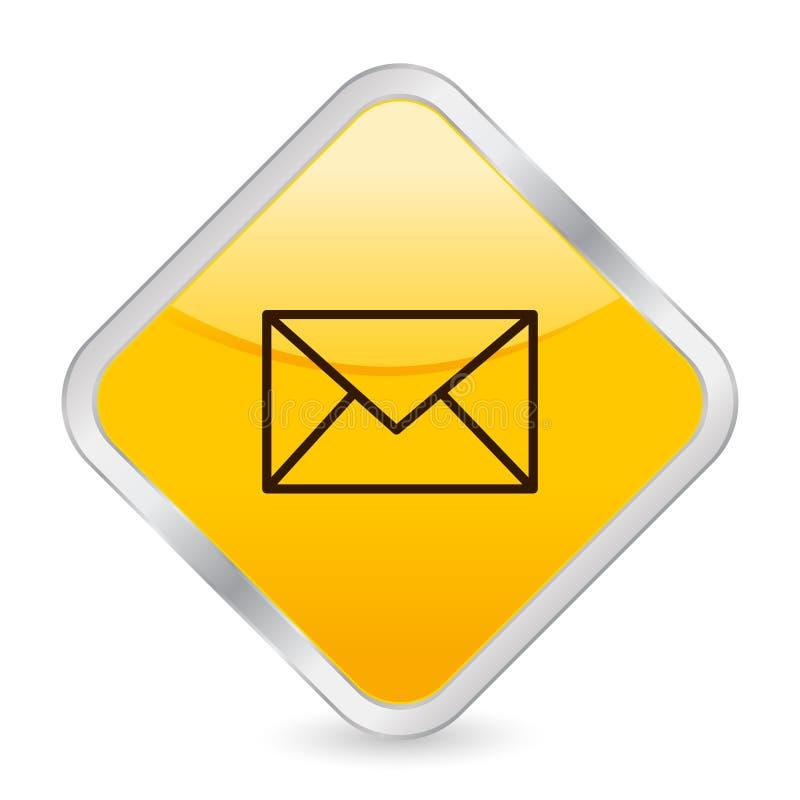 желтый цвет квадрата почты иконы иллюстрация вектора