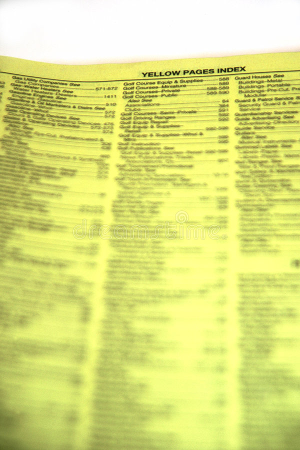 желтый цвет классификационных страниц стоковые изображения rf