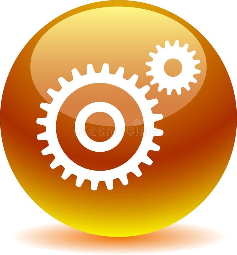 Желтый цвет кнопки сети установок золотой иллюстрация вектора