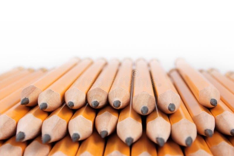 желтый цвет кучи карандашей стоковое фото rf