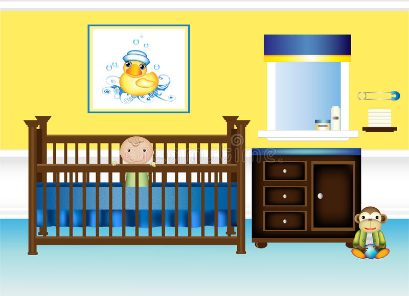 желтый цвет питомника спальни младенца голубой иллюстрация штока