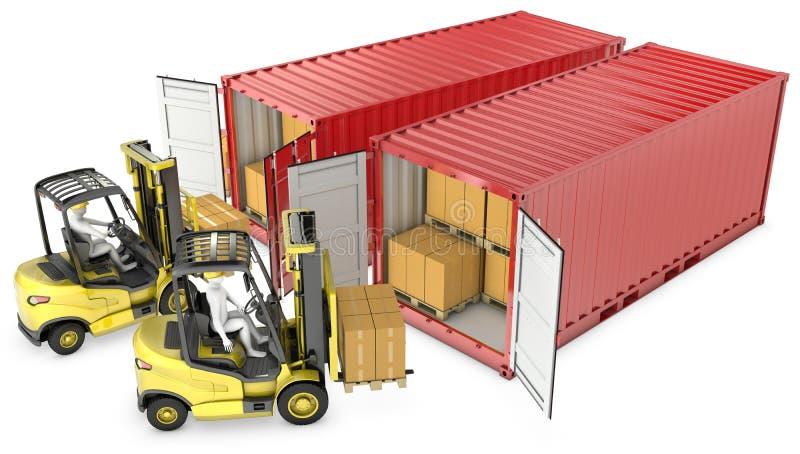 желтый цвет подъемноого-транспортировочн механизма 2 контейнеров разгржая бесплатная иллюстрация