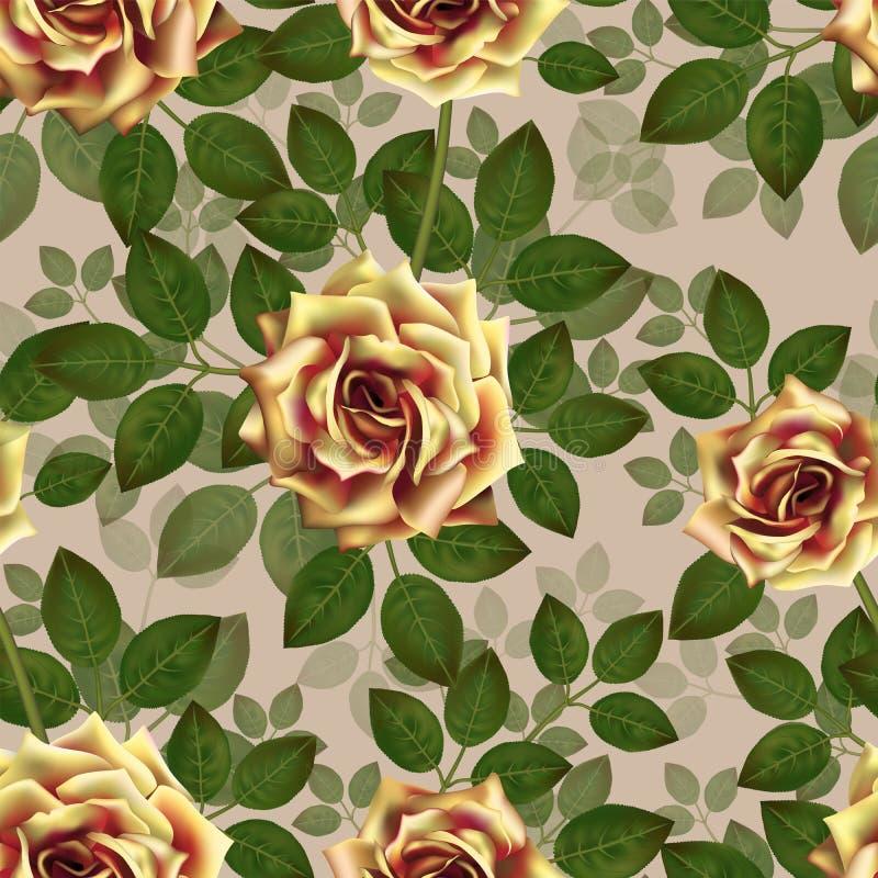 желтый цвет роз картины безшовный Красивые реалистические цветки с листьями Photorealixtic подняло бутон, чистый детализированный бесплатная иллюстрация