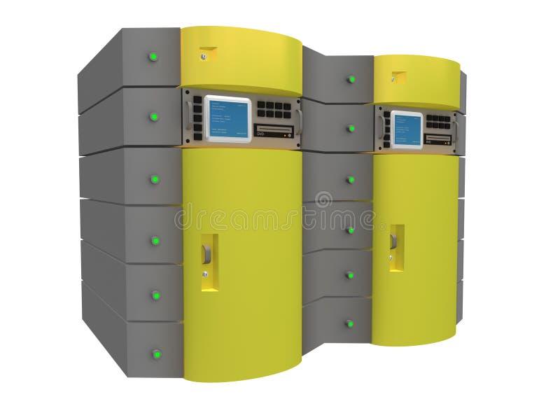 желтый цвет сервера 3d иллюстрация штока