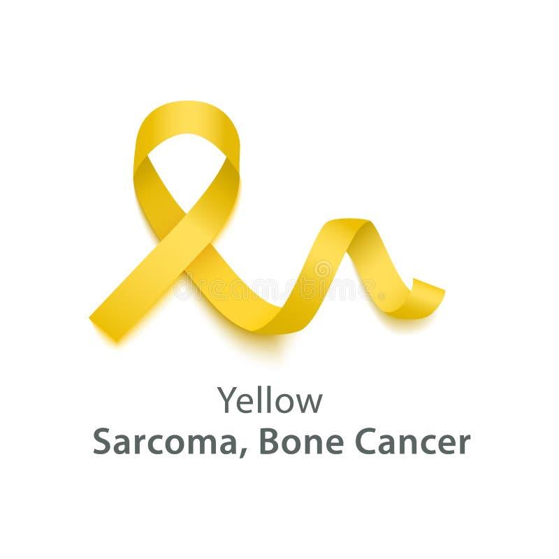 Желтый цвет символизирует саркому, объект вектора ленты месяца осведомленности рака кости бесплатная иллюстрация