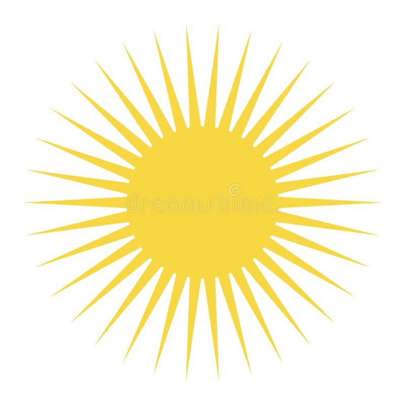 Желтый цвет Солнце с длинными лучами Желтый вектор eps10 значка солнца иллюстрация вектора
