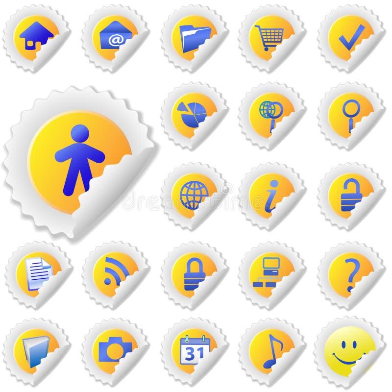 желтый цвет стикера корки иконы установленный иллюстрация штока