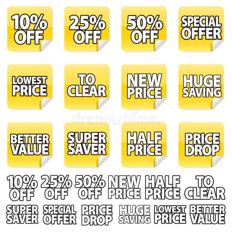 желтый цвет стикера цены иллюстрация вектора