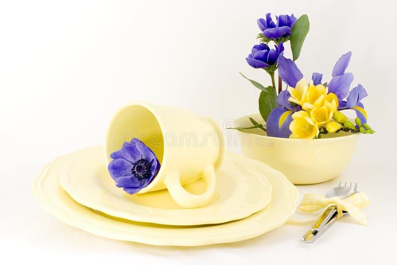 желтый цвет таблицы весны установки стоковая фотография rf
