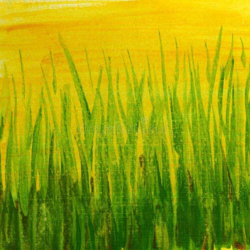 желтый цвет текстуры зеленого цвета травы покрашенный grunge стоковые фотографии rf